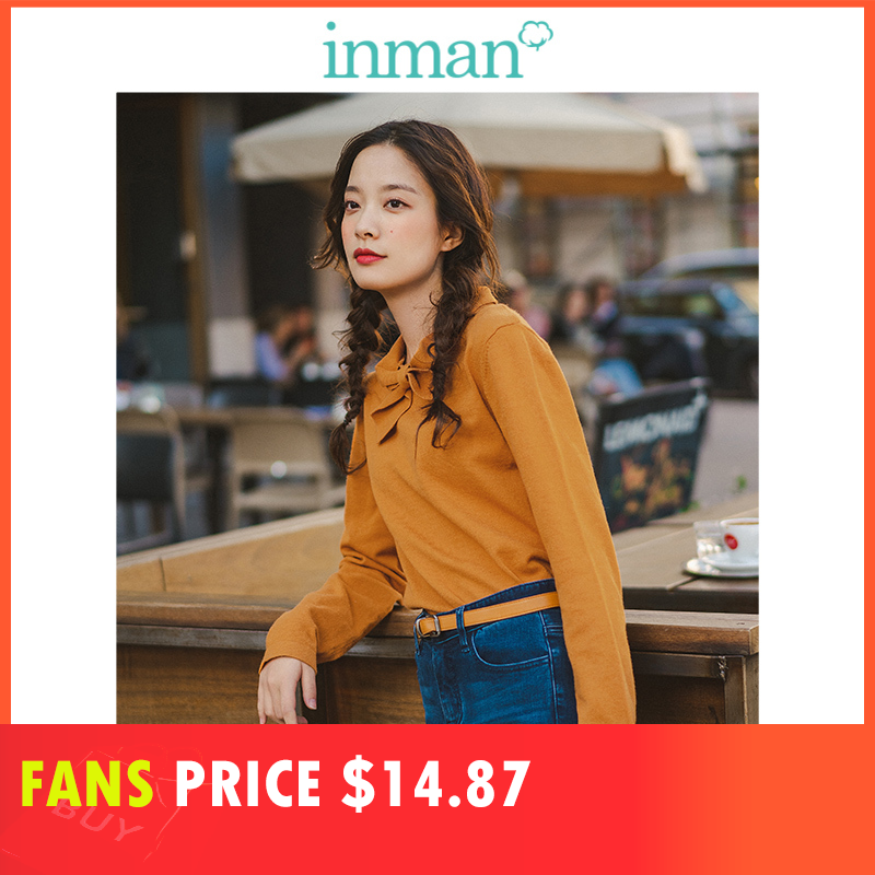 INMAN 2019 Autumn New Arrival Stand up Collar Sweet Solid Slim Literary All Matched Women Pullover in Pullovers from Women 39 s Clothing