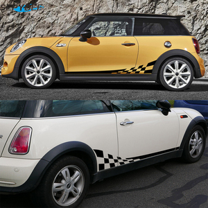 Image 5 - 2 pçs listras laterais da porta do carro saia corpo decalque corrida treliça estilo adesivos para mini cooper r50 r52 r53 r56 f56 r60 acessórios