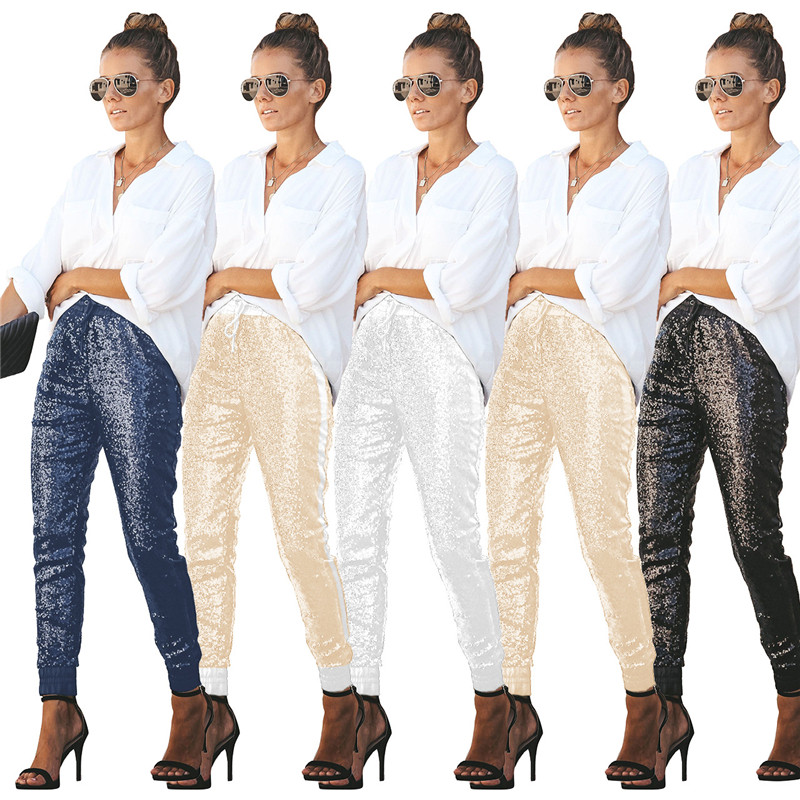 Sexy Women Long Pencil Pants Fashion Sequin Elastic PU Leather Patchwork High Waist Drawstring Party Club Trousers Lady Outfits