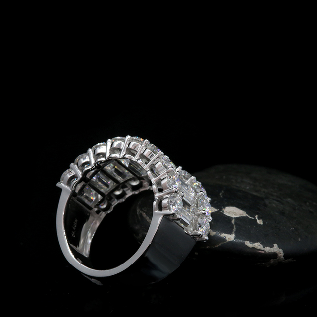 Luxury Solid 14K  Moissanite Diamond  Round Cut Half Eternity Wedding Band 3