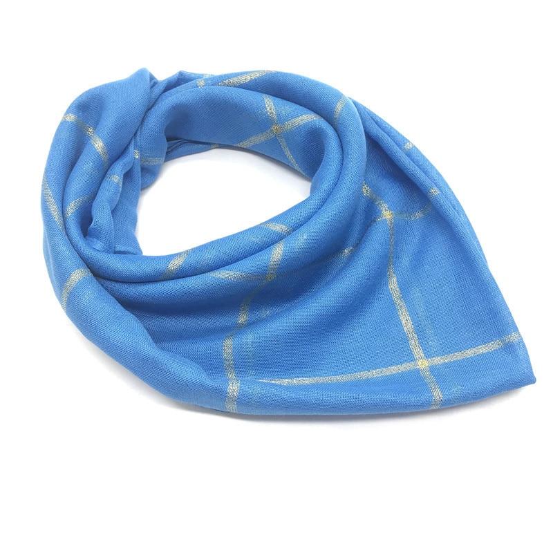 HanXi Women Scarf Cotton Muslim Hijab Plaid Square Scarves For Lady 90*90cm