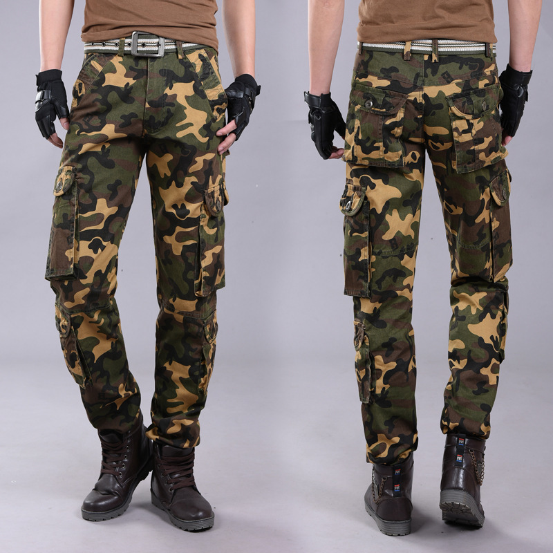 Outdoor Adventure Multi-pockets Camouflage Bib Overall Young MEN'S Slim Fit Straight-Cut Pure Cotton Long Pants Men'S Wear