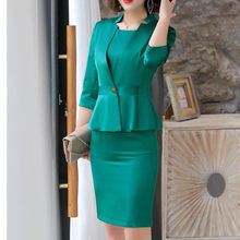 Dress Suits Office Ladies Wear Work Formal Business Two Piece Set Plus Size Elegant Design Spring Autumn Blazer Women Uniform(China)