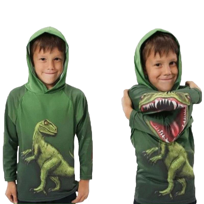Kids Boys Dinosaurs T-Shirt Spring and Autumn Children Hooded Long Sleeve Sweater Kids Top Clothes 100% Cotton Hoodie T shirt