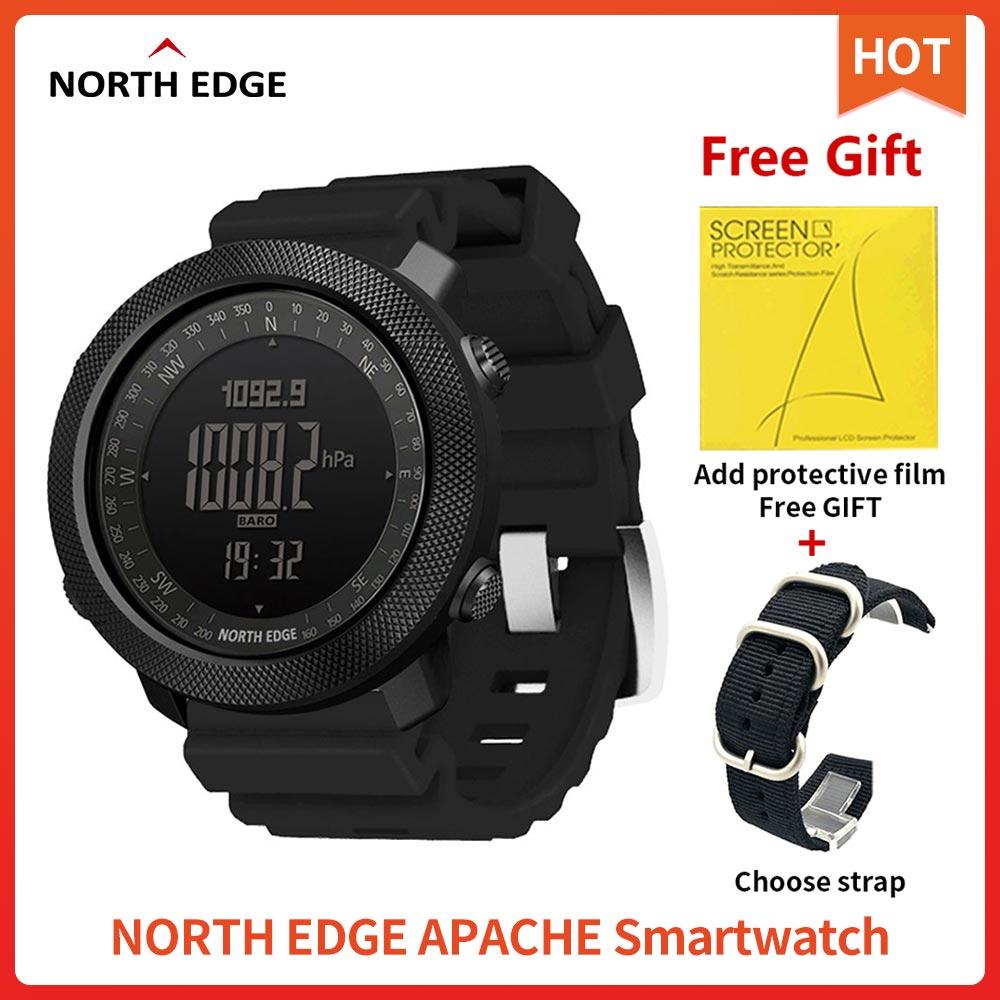 Смарт-часы North Edge афпачи мужские спортивные, водонепроницаемые 50 м, с высотомером, барометром, для бега, скалолазания, плавания, компасом