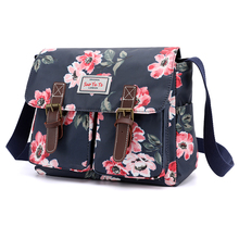 Shoulder-Bag Girls Handbag Belt-Design Multi-Pockets Floral-Print Nylon Fashion Women
