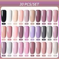 LILYCUTE 30 Pcs Gel smalto per unghie Set Gel colorato invernale rosa rosa rosso Glitter vernice Base Top Coat Soak Off Gel UV Nail Art Hybrid