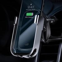 Baseus titular do telefone do carro de carregamento sem fio universal gravidade ventilação ar suporte montagem para o telefone suporte para iphone 8 xs max Suporte p/ celulares    -