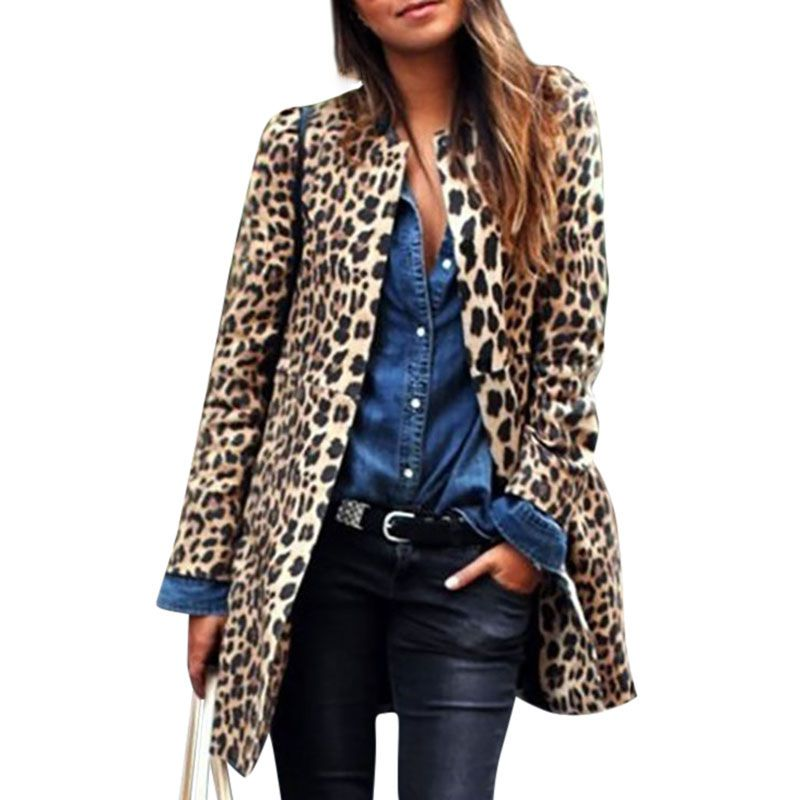 New Women Winter Spring Coat Warm Sexy Leopard Print Long Sleeve Loose Long Outerwear Off Season