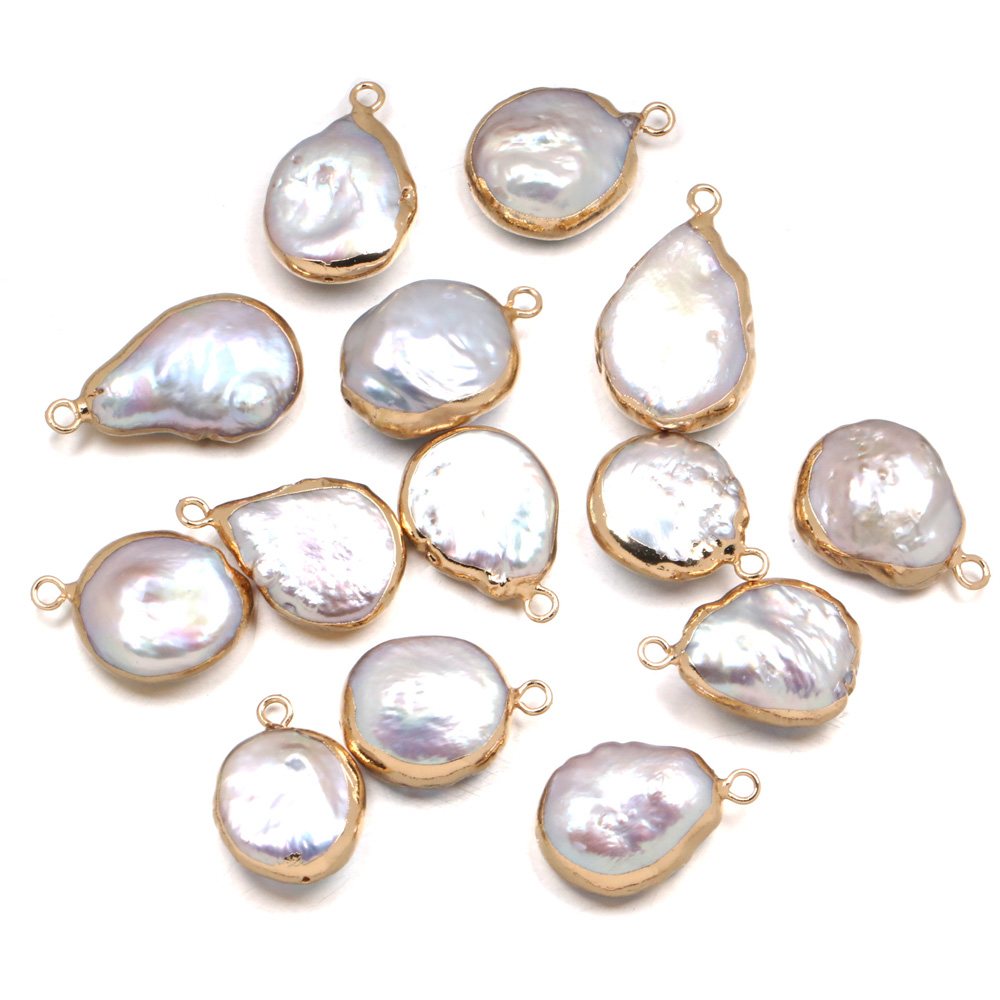Natural Freshwater Pearl Pendants irregular shape Charms Pendants For jewelry making DIY Accessories Fit Necklaces size 15x23mm