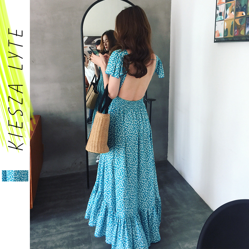 Summer Beach Dress Blue Backless Sexy Printing Irregular Fishtail Holiday Dresses 2020 New Woman Clothes
