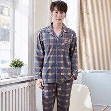 Новые Мужские пижамы двухсторонний отворот классический плед с длинными рукавами хлопок кардиган ретро домашняя одежда