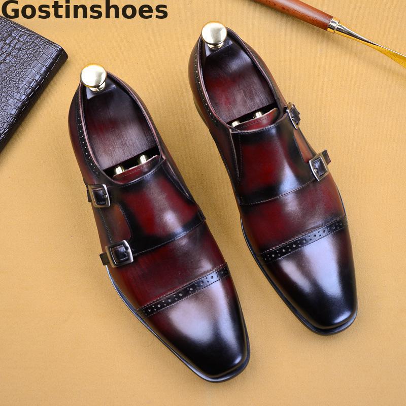Men Monk Straps Shoes Cow Leather Double Buckle Straps Black Wine Red Dress Shoes Men Formal Shoes Capped Toe Derby Shoes Office