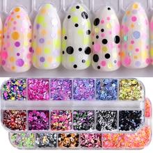 1 Set 12 Grids Nail Sequins Round Colorful Flakes Mixed Color 3D Fashion Paillette Glitter Manicure Nail Art Decoration Tool TRP