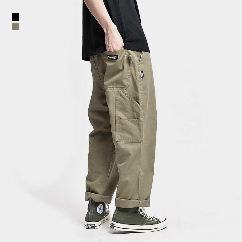 Safari Style! Multi-pocket Cargo Trousers Men Loose Straight Casual Baggy Pants Mens Work Canvas Pants