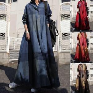 ZANZEA 2020 Vintage Button Shirt Dress Women's Autumn Sundress Long Sleeve Maxi Vestido Female Casual Bagyy Robe Femme Plus Size