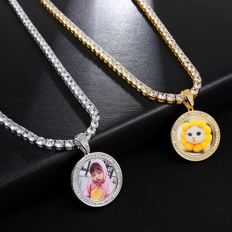 Foto personalizada medallones colgante collar Iced Out Cubic Zircon 4mm Cadena de tenis oro plata hombres Hip Hop Rap joyería regalo