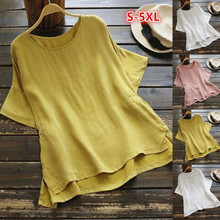 Womens Summer Short Sleeve T-Shirt Casual Asymmetrical Hem Blouse Tee Shirt Plus недорого