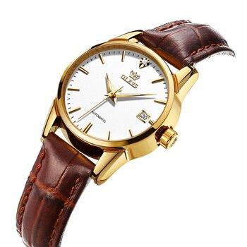 OLEVS Automatic Women's Watch Fashion Simple Deep Waterproof Leather Strap Women's Mechanical Watch 2