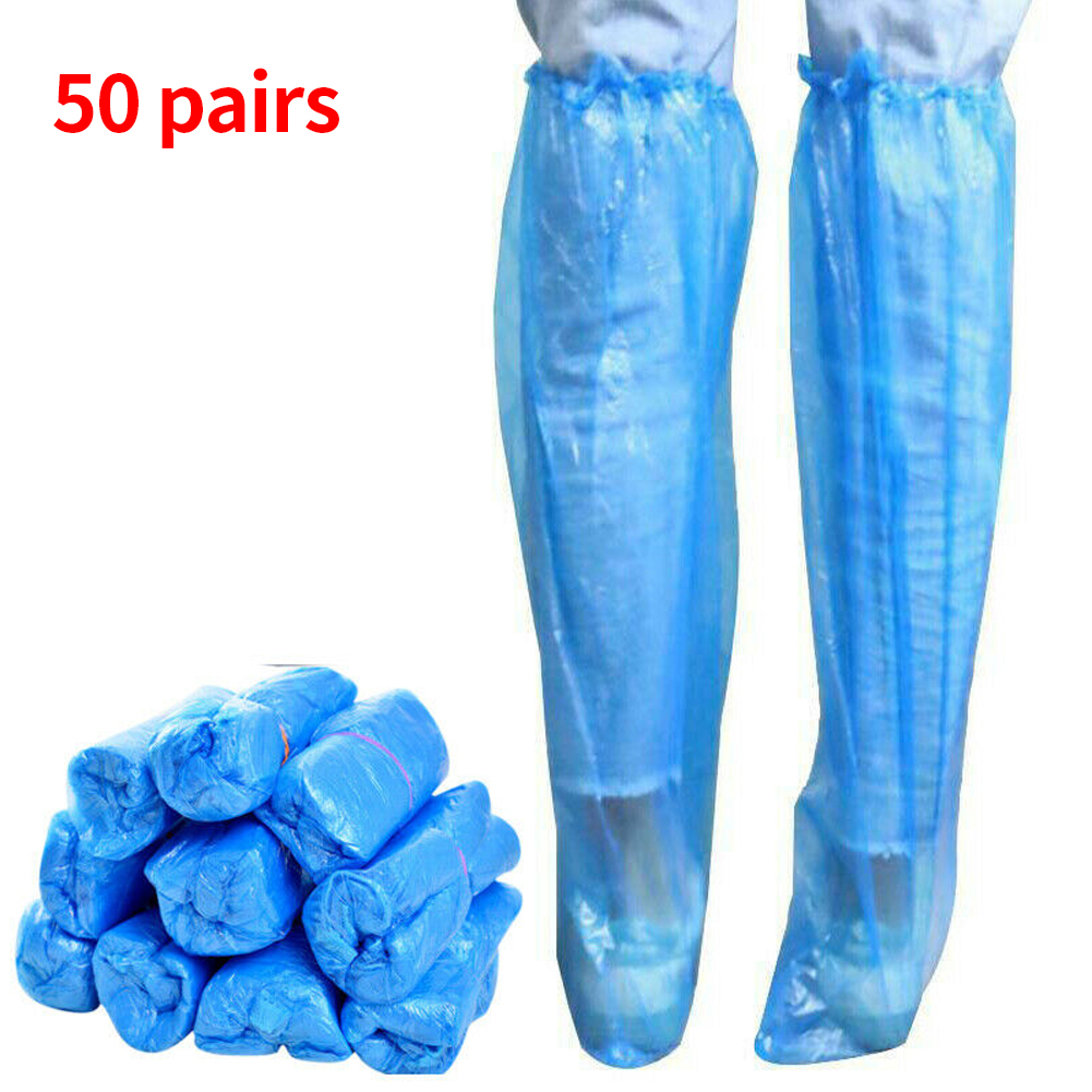 50pairs Boots Waterproof Anti Slip Universal Protective PE Disposable Shoe Cover Travel Outdoor Camping Hiking Long Overshoe