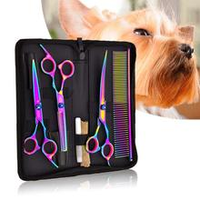 7.0 Inch Professional Pet Hair Scissors Set Dog Grooming Shears Hair Cutter Straight Thinning Curved Scissors 3pcs Set + Comb dimple curved design hair comb