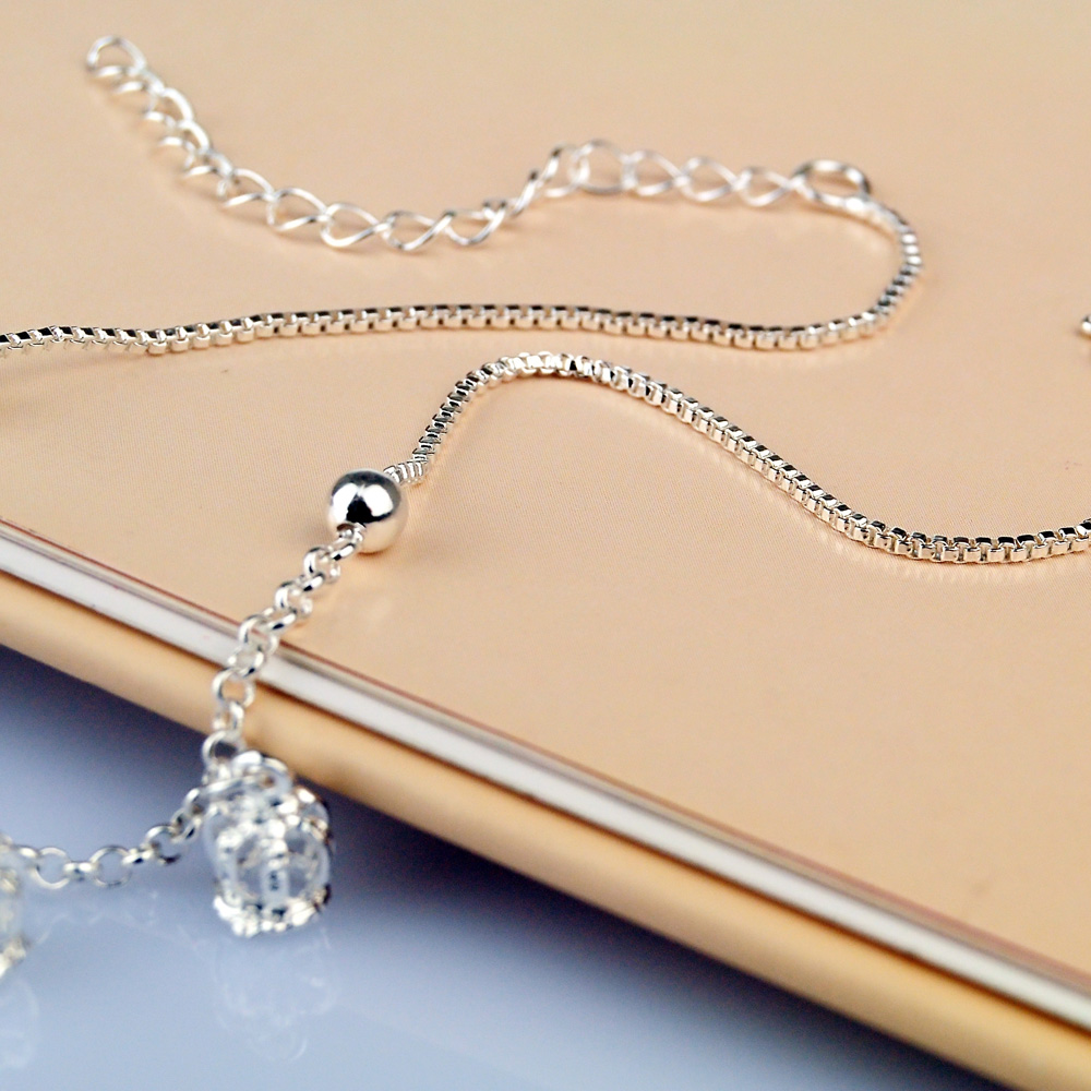 Retro 100%925 Sterling Silver Ankle Crown pendant Bracelet Bohemia Foot Beach Anklets Women Fashion Barefoot Chain Jewelry