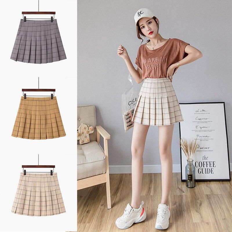 Plaid Pleated Skirt 2019 New Style WOMEN'S Skirt Spring And Summer Korean-style Pleated A- Line Skirt High-waisted Half-length S