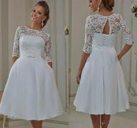 Cheap Short Wedding Gowns With Half Sleeves A Line Lace Corset Back Bridal Gowns Informal Wedding Bride Wear