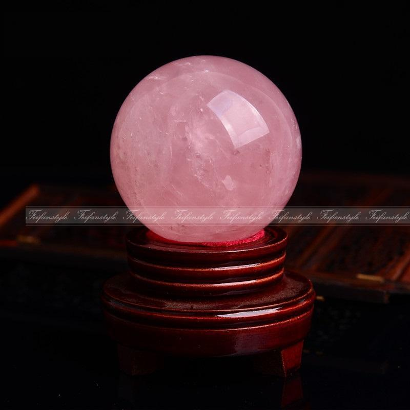 1pc Natural Pink Rose Quartz Crystal Healing Ball Sphere 50 55MM Stand natural stones and minerals