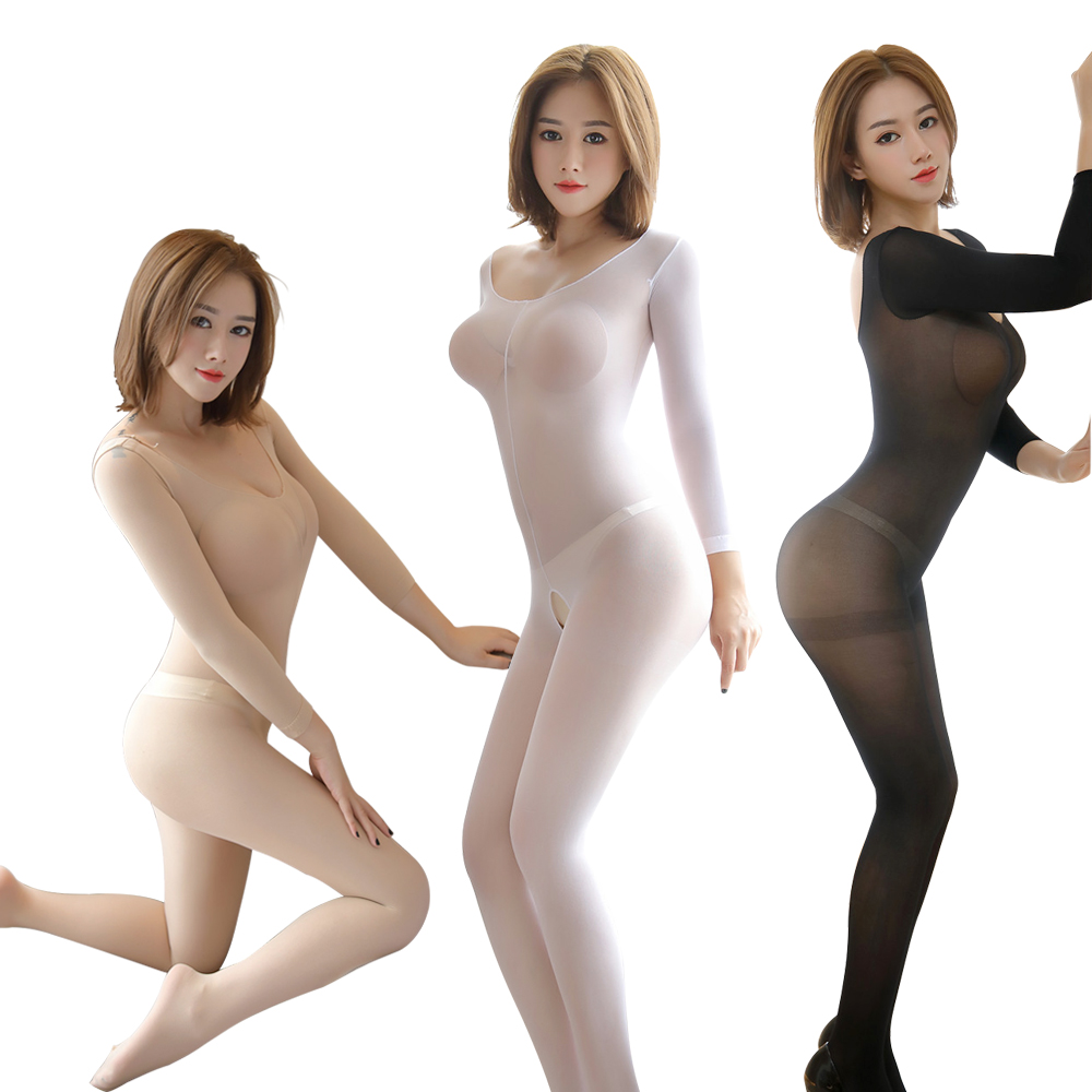 VATINE Perspective Catsuit Long-Sleeved Stockings Exotic Apparel Open Crotch Stockings  One-Piece Pantyhose