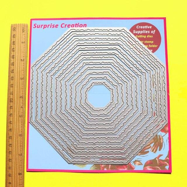 Troqueles de corte grande de 12 piezas Octágono borde rasgado 18,5x18,5 cm álbum de recortes DIY Cardmaking papel artesanal Metal troqueles