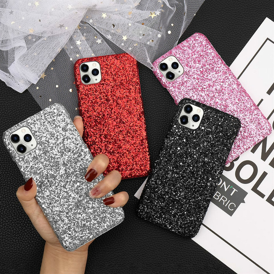 LCHULLE Bling Glitter Case for IPhone 11 Pro Max X Xr Xs 8 7 6S 6 Plus SE2020 12 Slim Chic Hard Plastic Phone Back Cover Coque