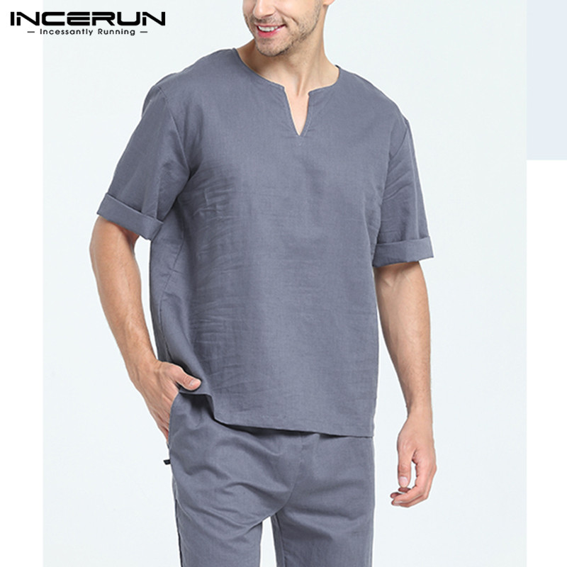 Men Fashion Homewear Solid Color Short Sleeve Casual Pajamas Sets Comfort Cotton Baggy Daily Soft Mens Lounge Sleepwear INCERUN