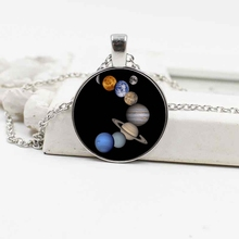 цена Nine planets universe crystal glass necklace Europe and the United States popular pendant alloy jewelry в интернет-магазинах