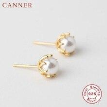 Pendientes sencillos de estilo coreano, pendientes de perlas naturales redondos de Plata de Ley 925 para mujeres y niñas, joyería de fiesta