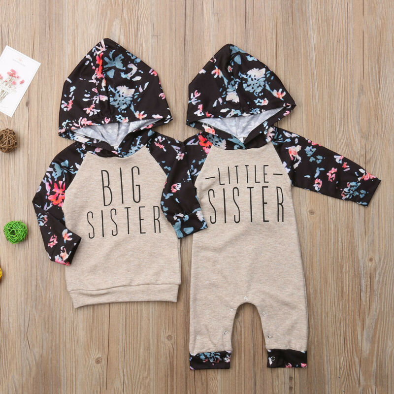 Baby Girls Sister Match Floral Clothes Long Sleeve Print Letter Top Sweatshirt Jumpsuit Romper Outfits