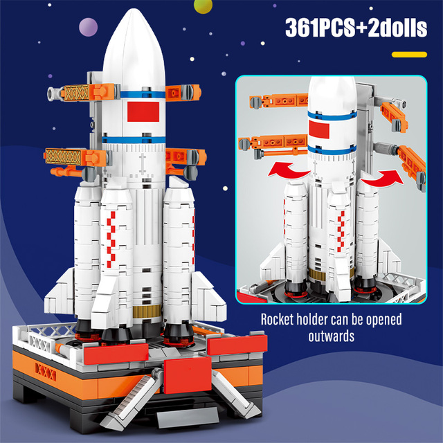 SEMBO New City Technic Aerospace Rocket Building Blocks Creator Space Launcher Astronaut Figure Bricks Toys For Children Gifts