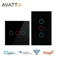 AVATTO Tuya EU/UNS Wifi Touch Schalter mit Glas Panel Touch-Sensor Smart-Wand Licht 2 weg Schalter arbeit mit Alexa, google Hause