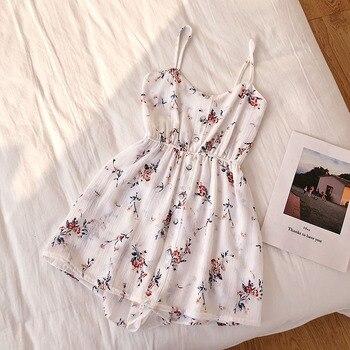 Floral Jumpsuits Women Beach Shorts Rompers New Summer Bohemian Print Overalls Fashion Women Slim High Waist Playsuits Femme 2