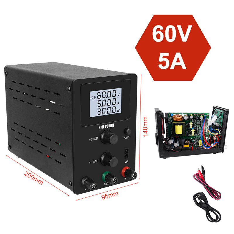 Adjustable DC switching Lab <font><b>Power</b></font> <font><b>Supply</b></font> <font><b>30v</b></font> 10a 60v <font><b>5a</b></font> <font><b>Power</b></font> Source Bench Source Digital Laboratory <font><b>Power</b></font> <font><b>Supplies</b></font> 110V 220V image