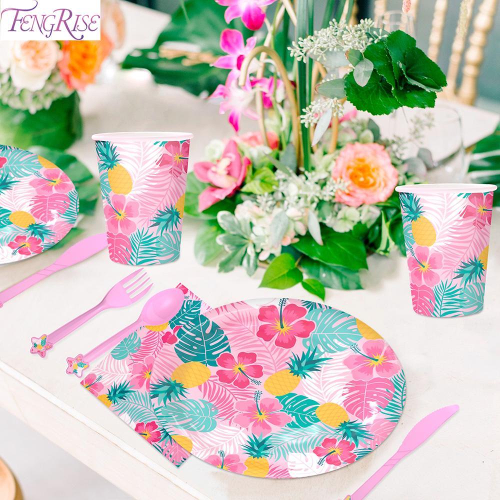 Pink Disposable Tableware Set Hawaiian Party Decoration Tropical Summer Party Birthday Party Decor Kids Aloha  Hawaii Decor