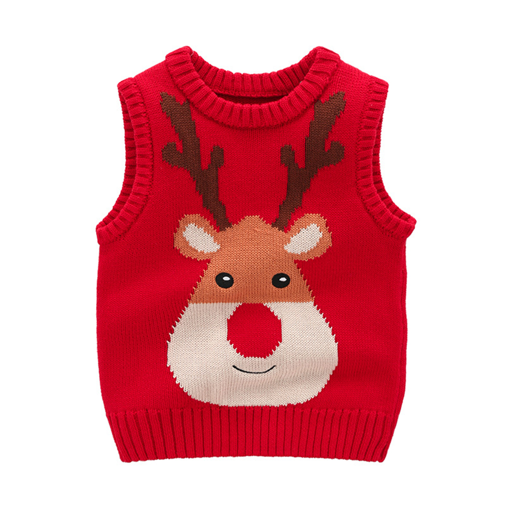 Fall Winter Cotton Baby Boys Girls Outerwear Kid Waistcoats Cartoon Elk Knit Pullover Vest Toddler Clothes Children'S Clothing