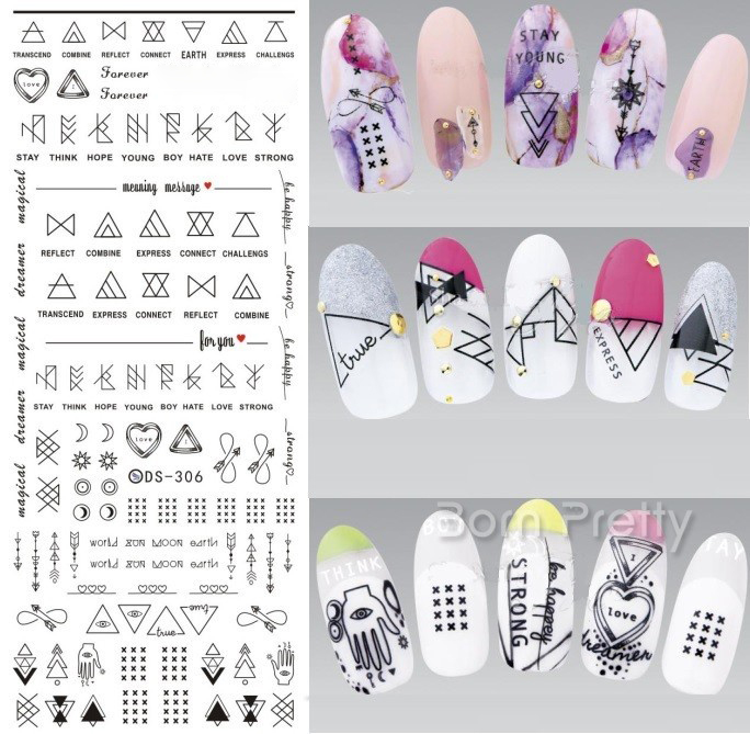 Купить с кэшбэком 3D Embossed Nail Sticker Flower Dreamcacher Heart Moon DIY  Slider Nail  Decorations Decals
