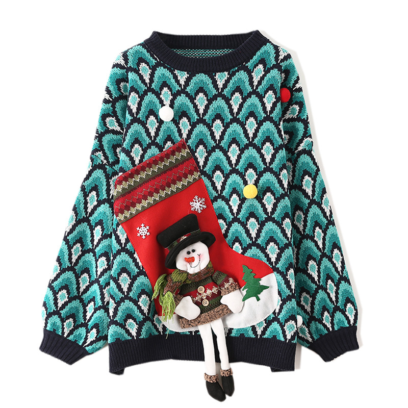 SEQINYY Christmas Sweater 2020 Autumn Winter New Fashion Design Women Long Sleeve Snowman Colorful Top