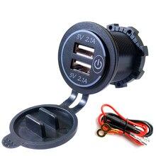 4.2A Dual Usb Charger Socket Snel Opladen Stopcontact Adapter Met Touch Schakelaar Waterdicht Voor Auto Motor Truck Rv Boot