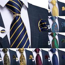 Cravate en soie pour hommes, couleur or, bleu, rouge, sarcelle, Paisley, solide, Floral, de qualité, anneau, Hanky, bouton de manchette, ensemble, Design DiBanGu