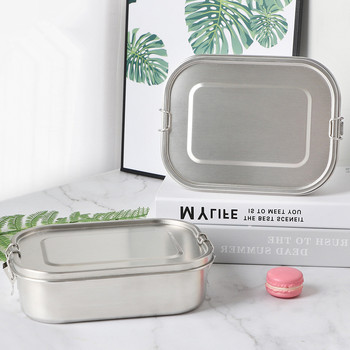 47oz Stainless Steel Food Container Leak Proof Bento Lunch Box For Commute With Lockable Clips Dishwasher Safe