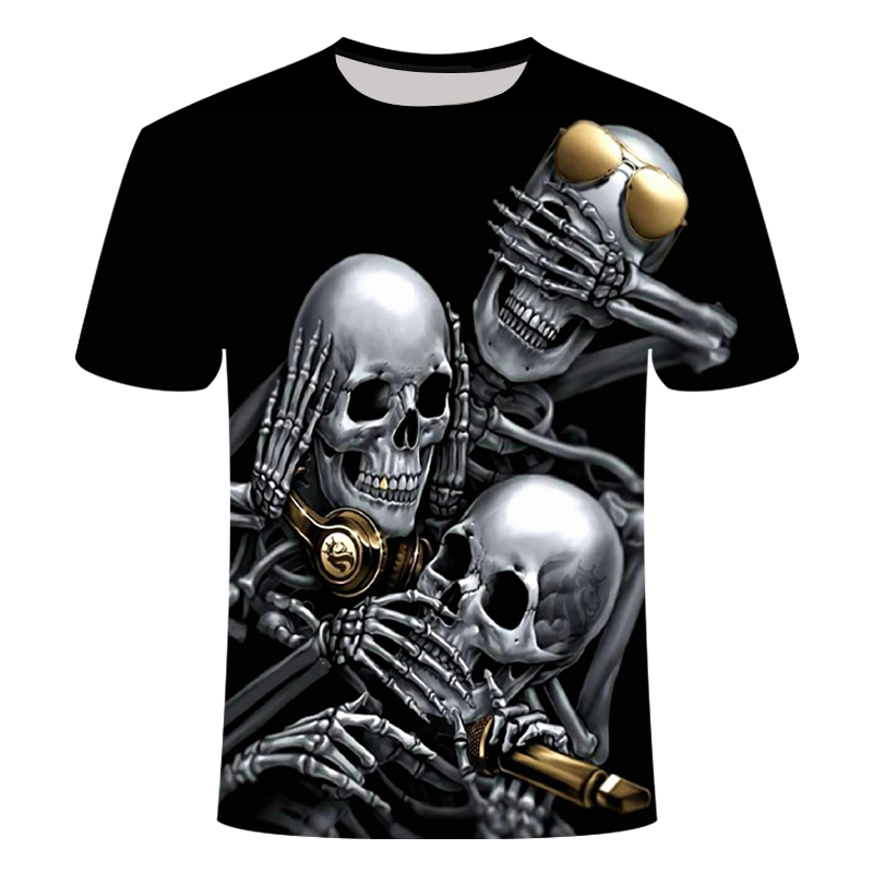 Drop Ship Summer NewFunny skull 3d T Shirt Summer Hipster Short Sleeve Tee Tops Men/Women Anime T-Shirts Homme Short sleeve tops 6