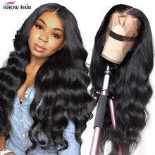 Ishow pelucas de cabello humano con frente de onda de encaje, peluca Frontal de encaje 360 prearrancada de 13x4 13x6x1, peluca con malla Frontal, cabello brasileño Remy