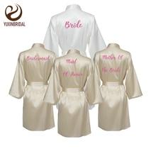 YUXINBRIDAL 2019 New Bridesmaid Robes  Bridal Champagne Satin Robe Wedding